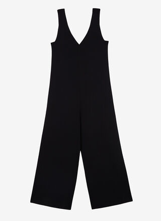 THICK-STRETCH KNIT JUMPSUIT