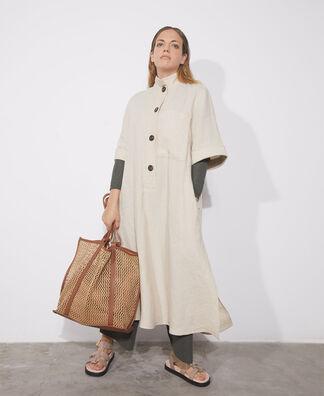 Midi dress in natural European linen