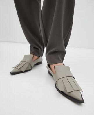 Maxi fringed flat shoe
