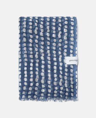 Printed dots linen foulard