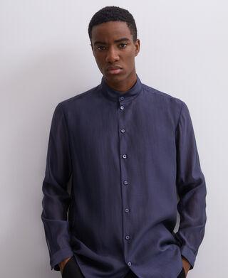 Semi-transparent mandarin collar shirt