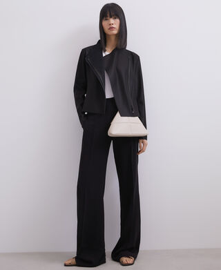 Straight trousers with buckle on waist