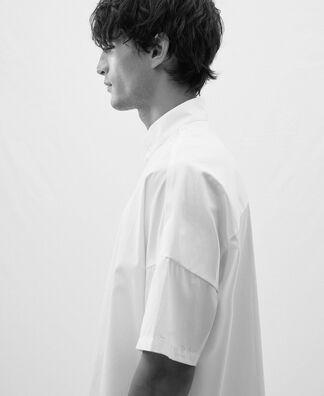 Mandarin collar drop shoulder shirt