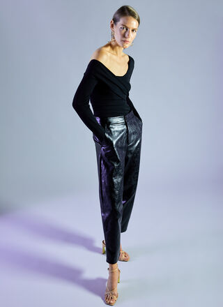 FAUX LEATHER SLOUCHY TROUSERS