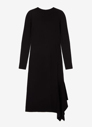 MIDI THICK STRETCH-KNIT DRESS WITH GODET