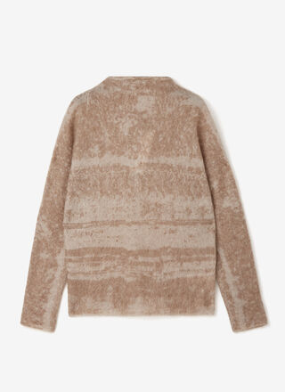 Mohair knit cardigan with jacquard