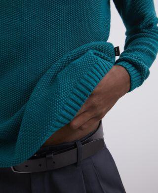 Textured cotton crew neck sweater