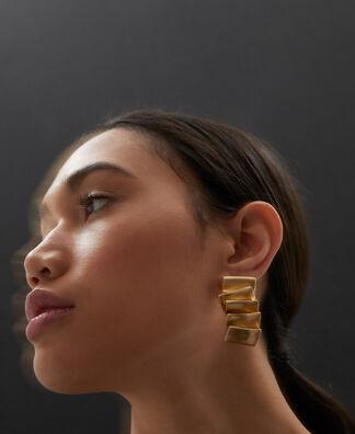 Pleated zinc earrings